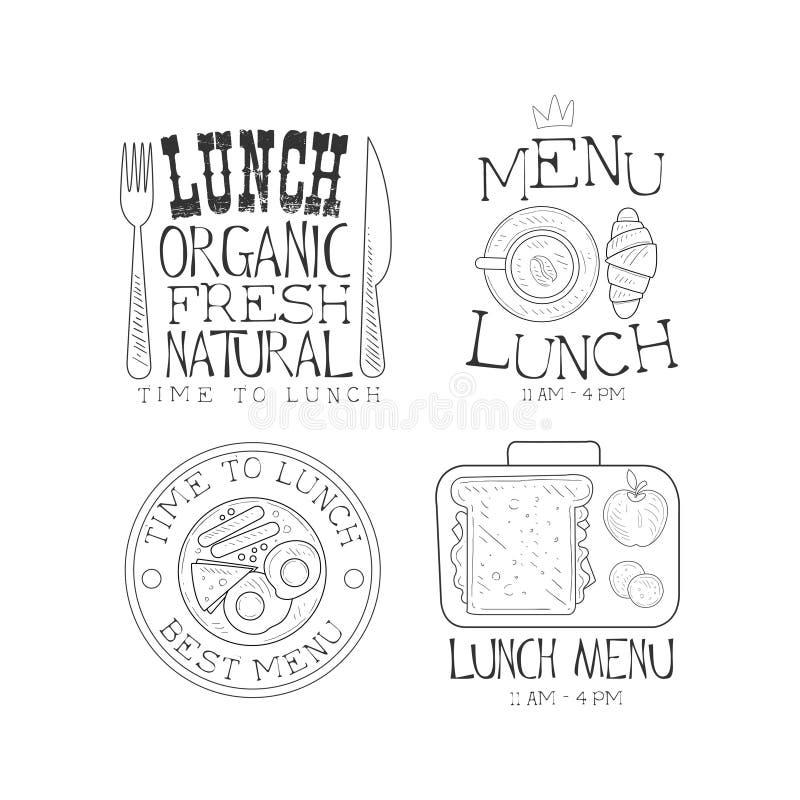 Wektorowy ustawiający monochromatyczni logowie dla lunchu menu Kreśli stylowych emblematy z smakowitym jedzeniem, filiżanką, rozw royalty ilustracja