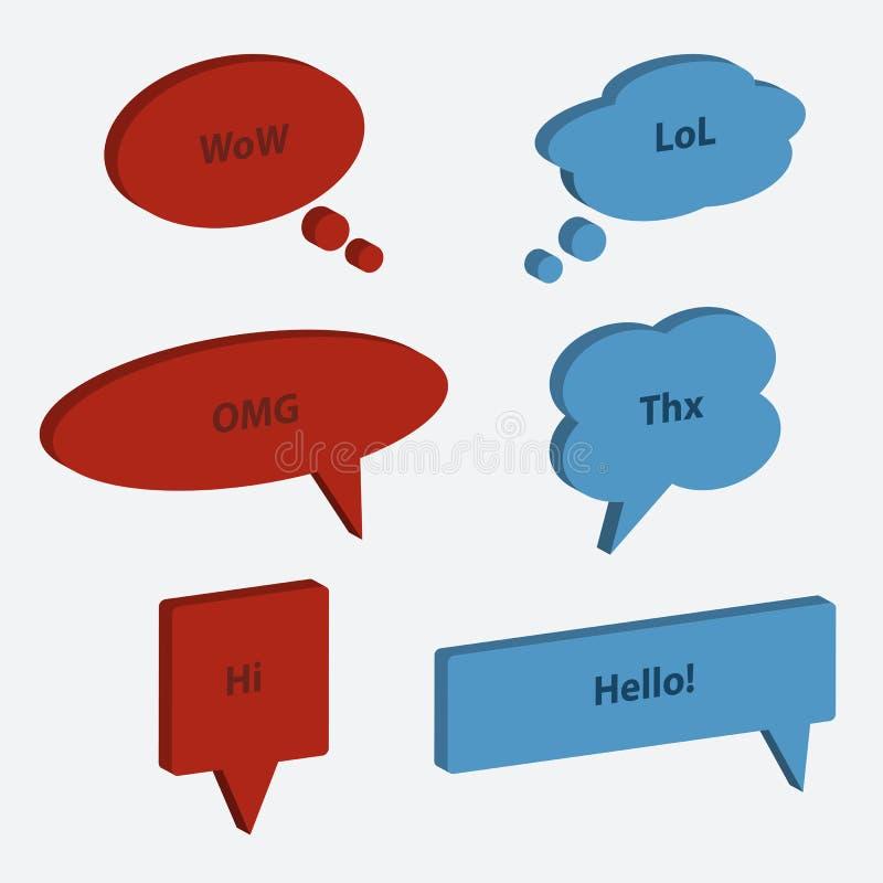 Wektorowy ustawiający mowa bąbla ikon 3d styl ilustracja wektor