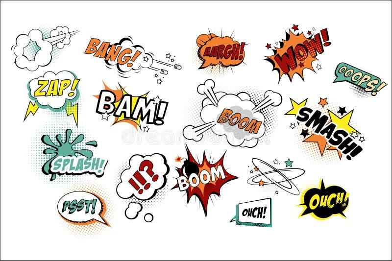Wektorowy ustawiający mowa gulgocze w wystrzał sztuki stylu z tekstem Różnorodne rozsądne repliki Łomotają, Oops, huk, Zap Kreskó ilustracji