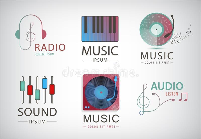 Wektorowy ustawiający muzyczni logowie, ikony, podpisuje ilustracji