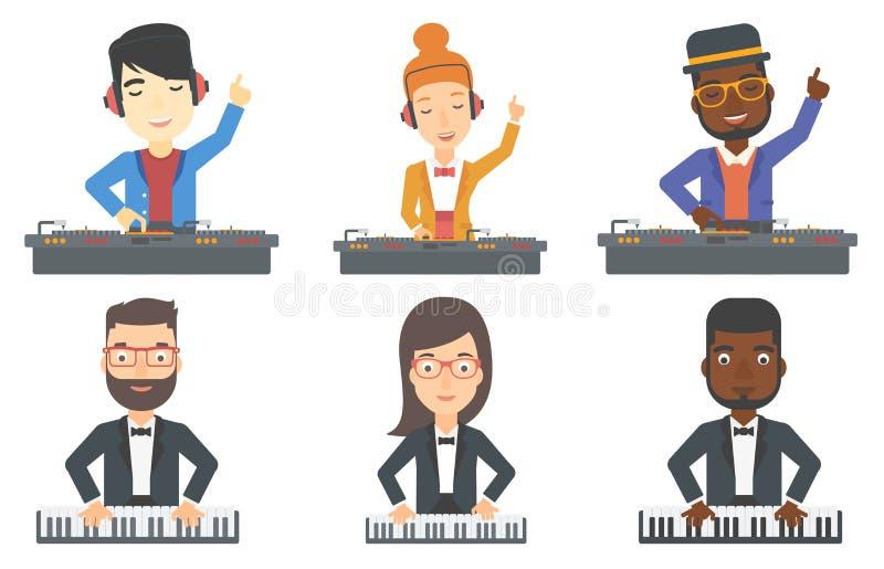 Wektorowy ustawiający muzyków charaktery ilustracji