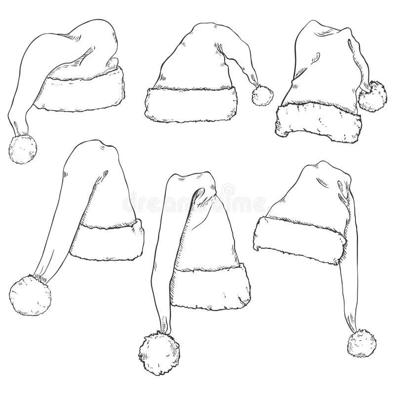 Wektorowy Ustawiający nakreślenia Święty Mikołaj kapelusze ilustracja wektor