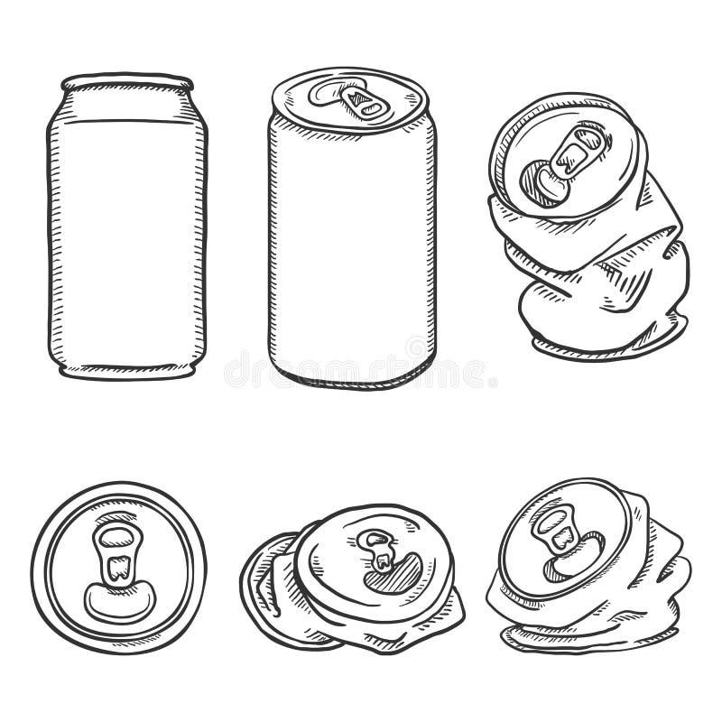 Wektorowy Ustawiający nakreślenie Aluminiowej puszki ilustracje royalty ilustracja
