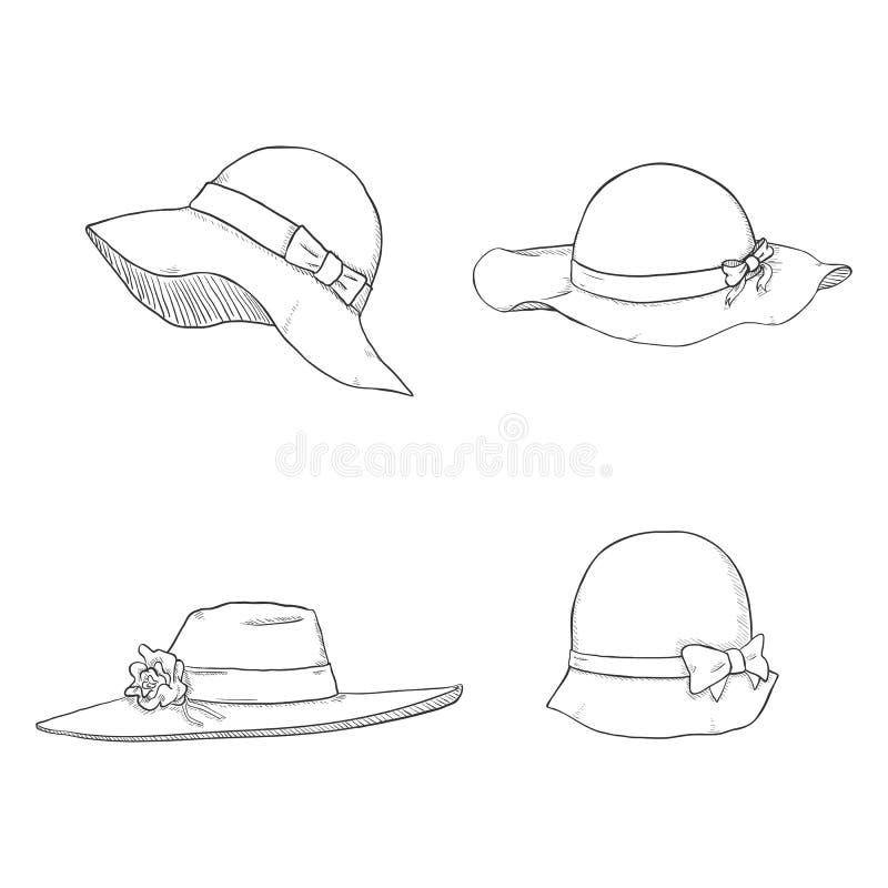 Wektorowy Ustawiający nakreślenie kobiet kapelusze ilustracja wektor