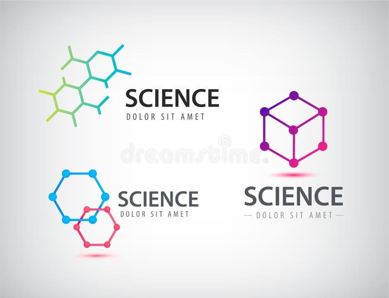Wektorowy ustawiający nauka logowie, biologia, physics, chemia logo royalty ilustracja