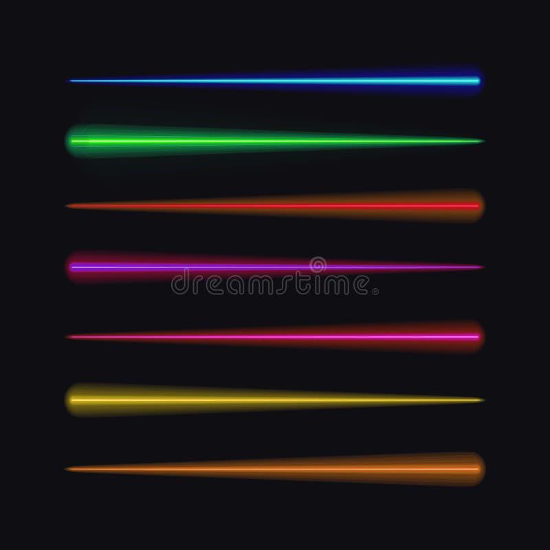 Wektorowy Ustawiający Neonowi muśnięcia, Różni kolory Rusza się światła royalty ilustracja