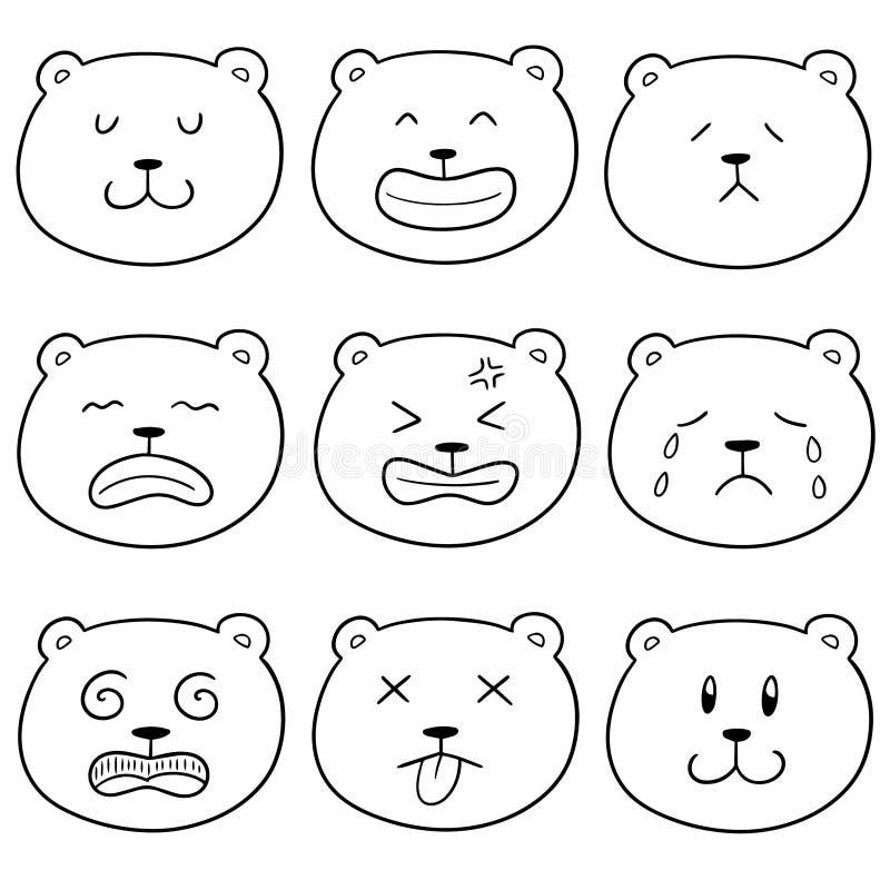 Wektorowy ustawiający niedźwiadkowa twarz royalty ilustracja