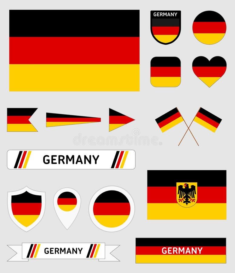 Wektorowy ustawiający 16 niemiec różna flaga odnosić sie ilustracje royalty ilustracja