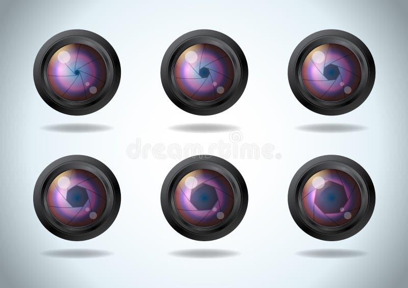 Wektorowy ustawiający obiektyw apertura Blenda fotografii kamery żaluzi ikony realistyczny set Strony apertury odsłonięci ostrza ilustracji