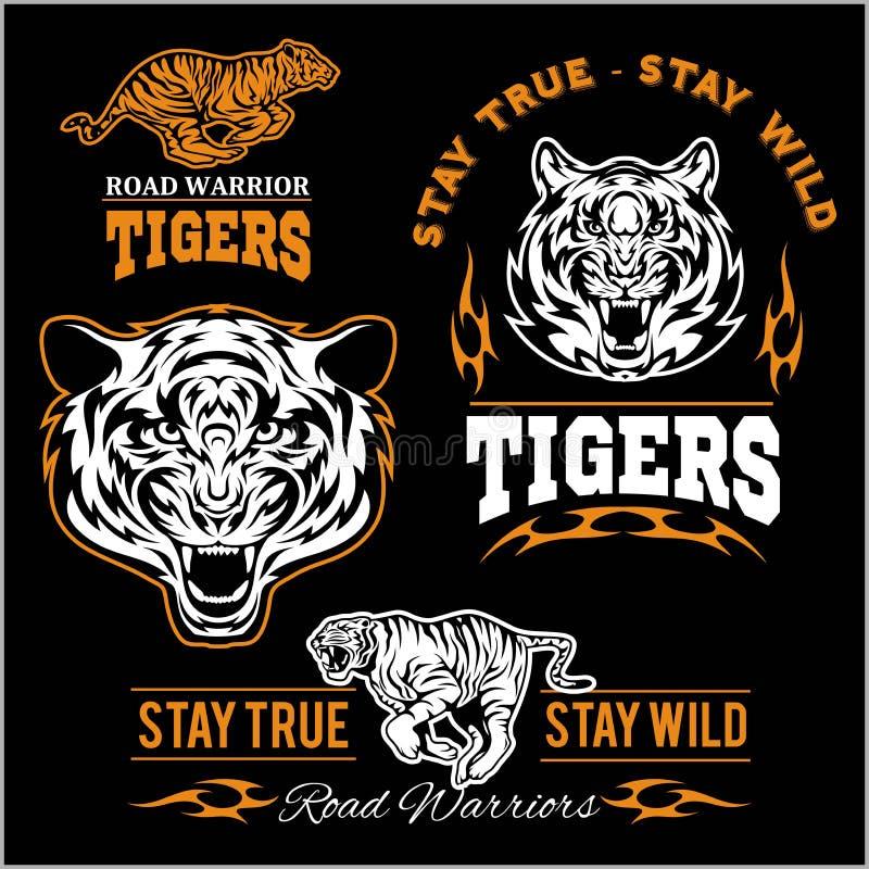 Wektorowy ustawiający obrazkowy tygrysi o temacie sporta logo, łata, ikona lub odznaka, royalty ilustracja