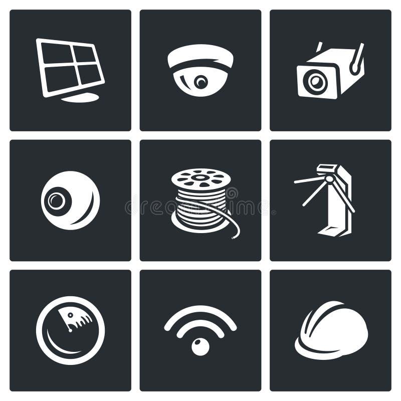 Wektorowy Ustawiający ochrony instalaci ikony Komputer, inwigilaci kamera, Plenerowa, oko, ogon, kołowrót, radar, radio royalty ilustracja