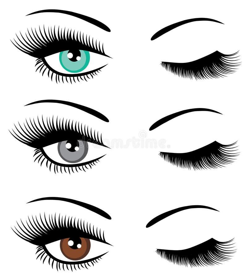 Wektorowy ustawiający oczu mrugać ilustracji