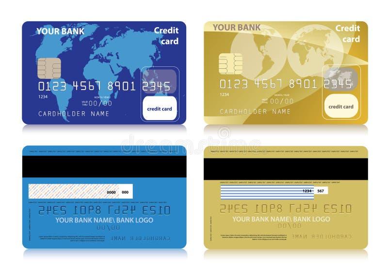 Wektorowy ustawiający odosobnione kredytowe karty ilustracja wektor