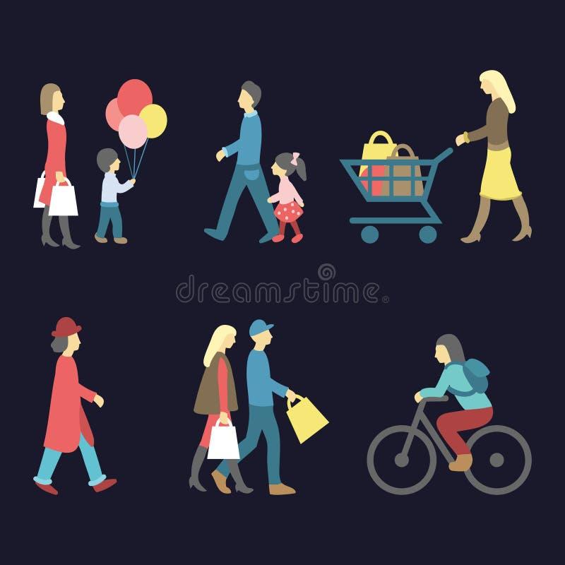 Wektorowy ustawiający odprowadzenia i zakupy ikon w modnym mieszkaniu ludzie projektuje Kolekcja różny mężczyzna, kobieta, dzieck ilustracji