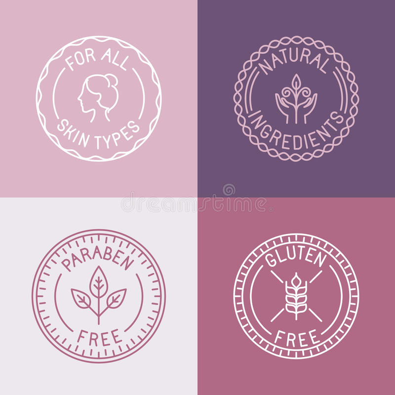 Wektorowy ustawiający odznaki i emblematy w modnym liniowym stylu ilustracja wektor