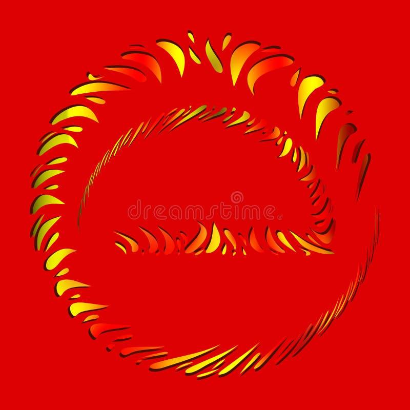 Wektorowy ustawiający ogienia i czerwieni ramy robić krople w etnicznym stylu ilustracji