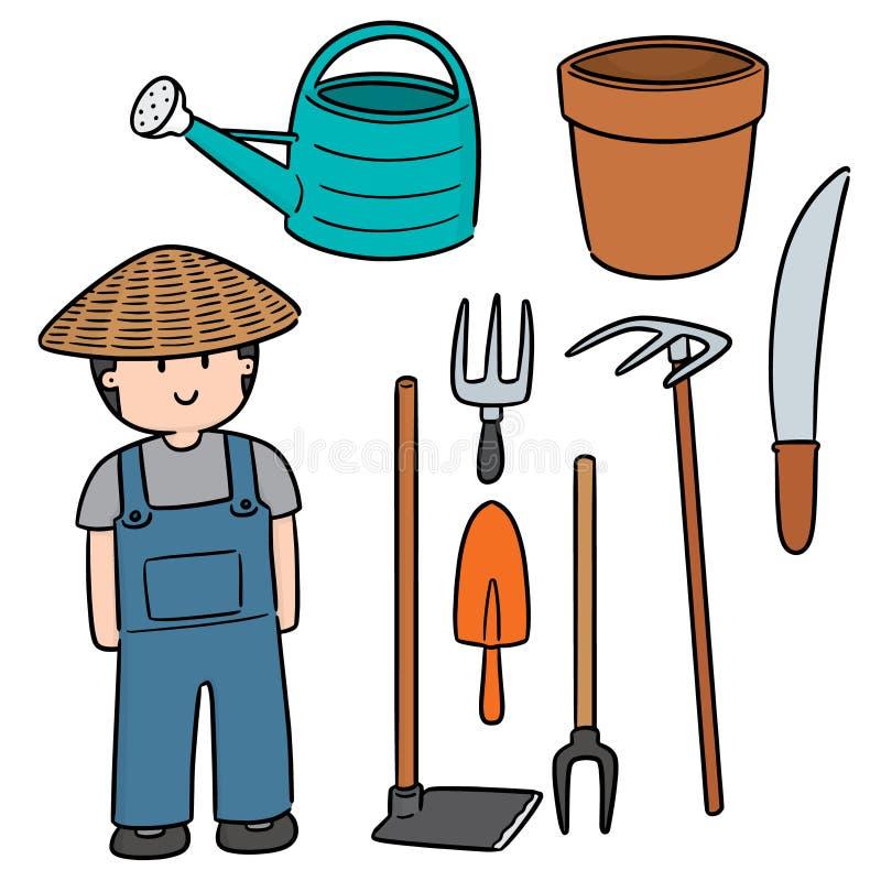 Wektorowy ustawiający ogrodniczka i ogrodnictwa wyposażenie royalty ilustracja