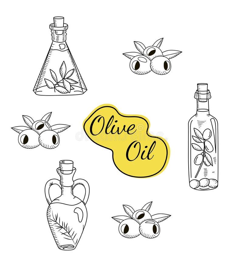 Wektorowy ustawiający oliwa z oliwek ikony royalty ilustracja