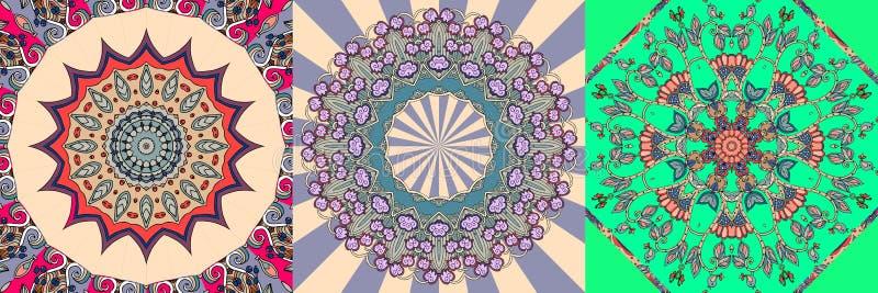 Wektorowy ustawiający ornamentacyjny tło Bandany lub chustka kwadrata wzór drukują ilustracji