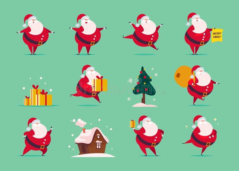 Wektorowy ustawiający płaski śmieszny Święty Mikołaj charakter odizolowywający na zielonym tle - stoi, niesie, teraźniejszość zdo ilustracji