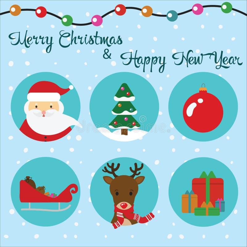 Wektorowy ustawiający płaskie ikony Boże Narodzenia Święty Mikołaj, renifer i drzewo, ilustracji