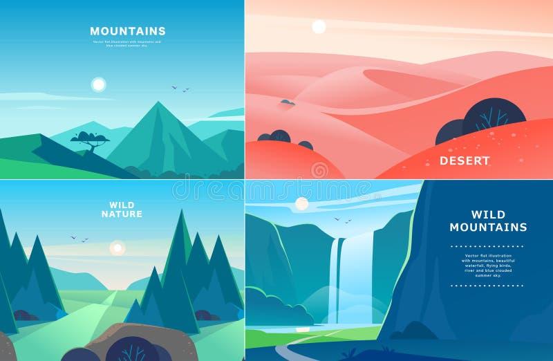 Wektorowy ustawiający płaskie lato krajobrazu ilustracje z pustynią, siklawa, góry, słońce, las na błękicie chmurniał niebo royalty ilustracja