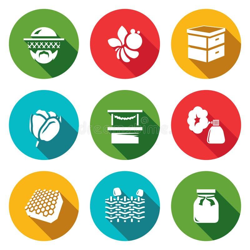 Wektorowy Ustawiający pasiek ikony Pszczelarka, pszczoła, rój, kwiat, handel, dym, miód, ogrodzenie, słój ilustracji