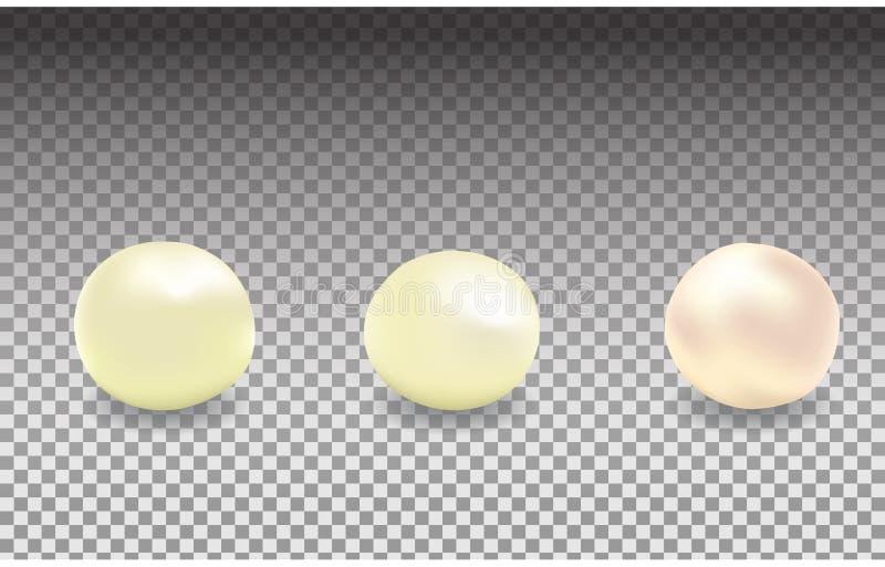 Wektorowy ustawiający perły różni kolory, biel operla, rzek perły odizolowywać na przejrzystym tle royalty ilustracja
