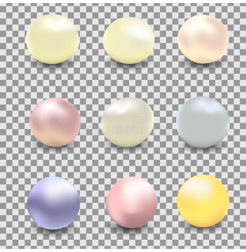 Wektorowy ustawiający perły różni kolory, biel operla, rzeka operla na przejrzystym tle ilustracji