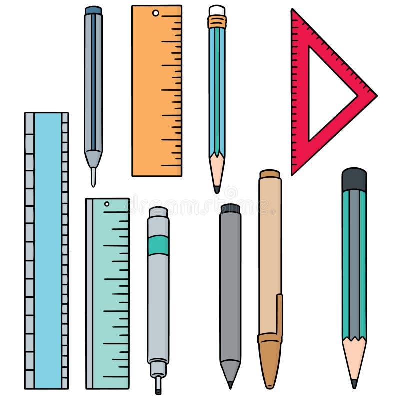 Wektorowy ustawiający pióro, ołówek i władca, royalty ilustracja