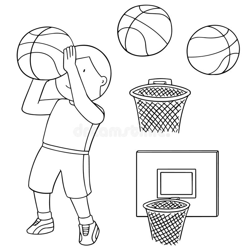 Wektorowy ustawiający piłka, obręcz i gracz koszykówki koszykówki, ilustracja wektor