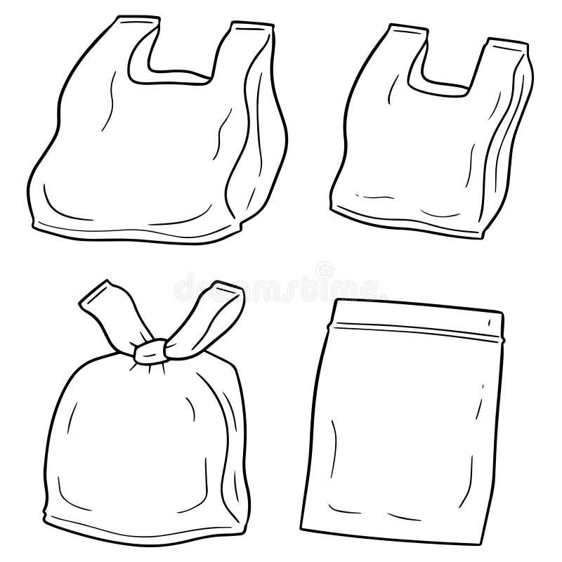 Wektorowy ustawiający plastikowy worek royalty ilustracja