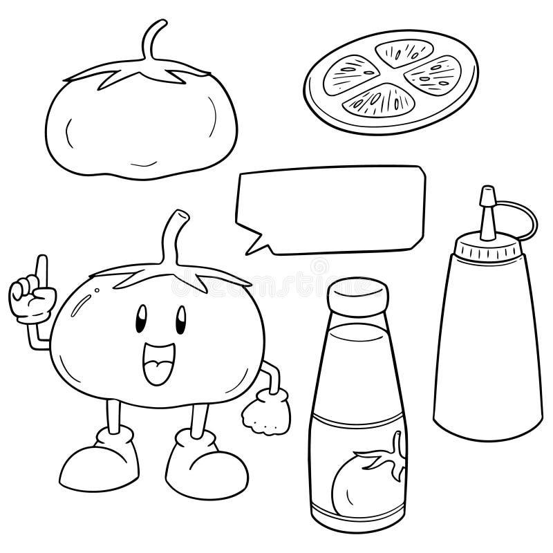 Wektorowy ustawiający pomidorowy i pomidorowy ketchup ilustracji