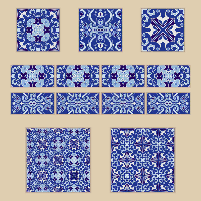 Wektorowy ustawiający Portugalskie płytki i granicy Kolekcja barwioni wzory dla projekta i mody ilustracja wektor