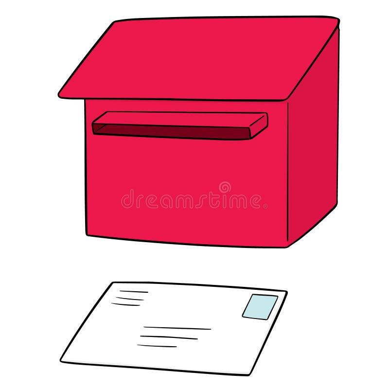 Wektorowy ustawiający postbox i koperta ilustracji