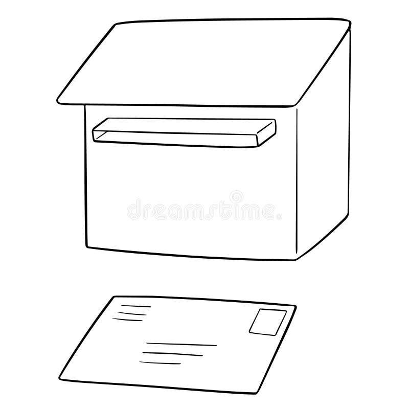 Wektorowy ustawiający postbox i koperta royalty ilustracja