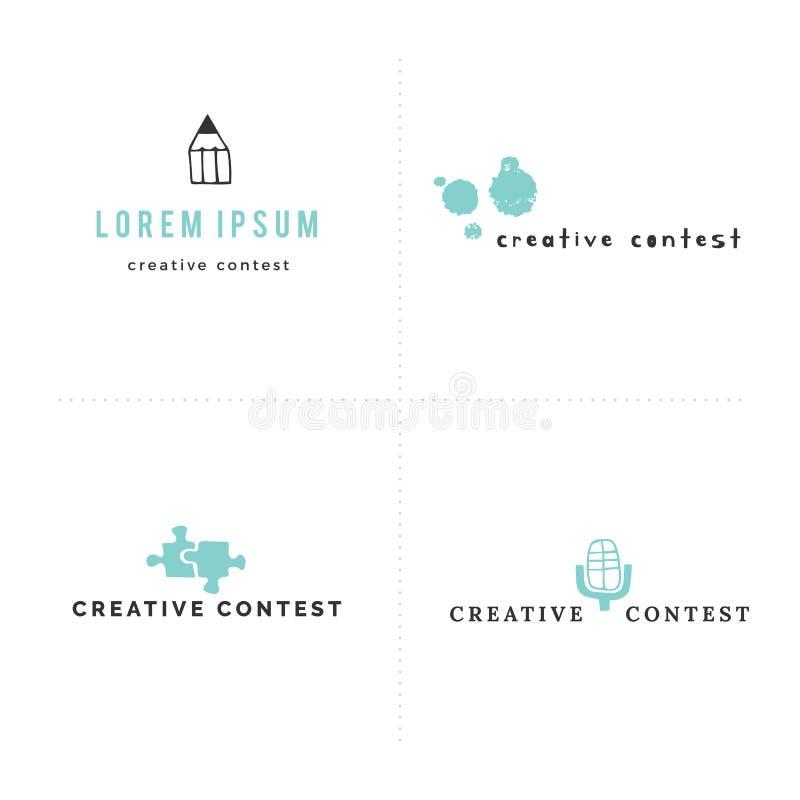 Wektorowy ustawiający premade logo szablony z barwiona ręka rysować ikonami Kreatywnie konkurs ilustracja wektor