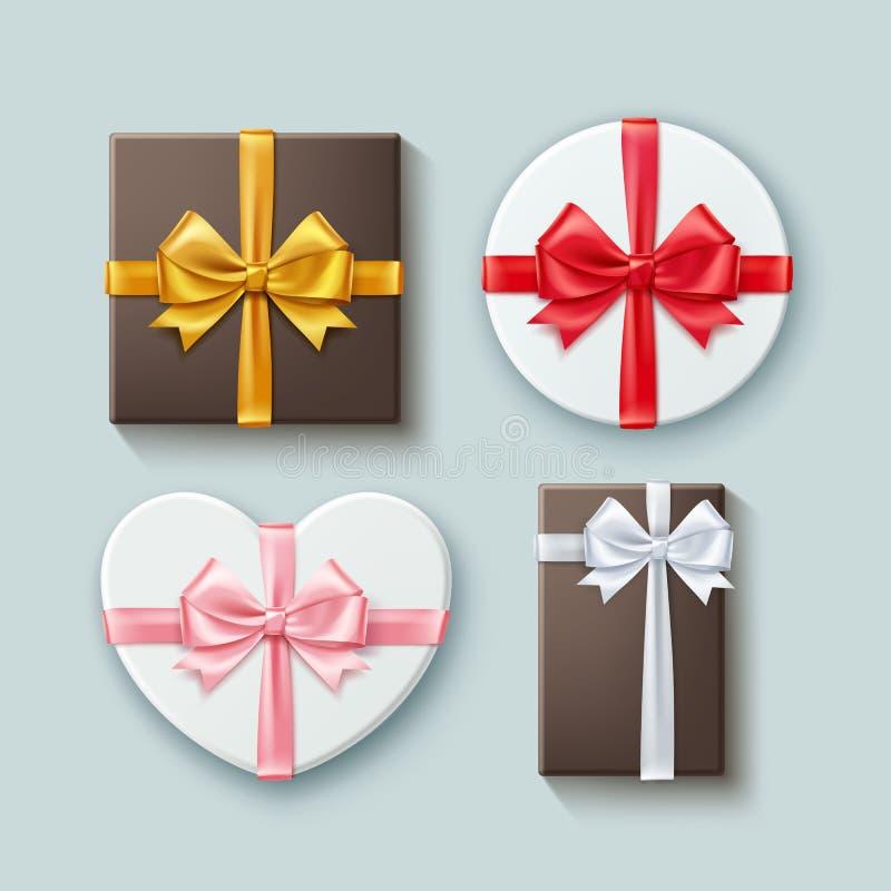 Wektorowy ustawiający prezentów pudełek różne formy z faborkami i kępki odizolowywać na tle, odgórny widok ilustracji