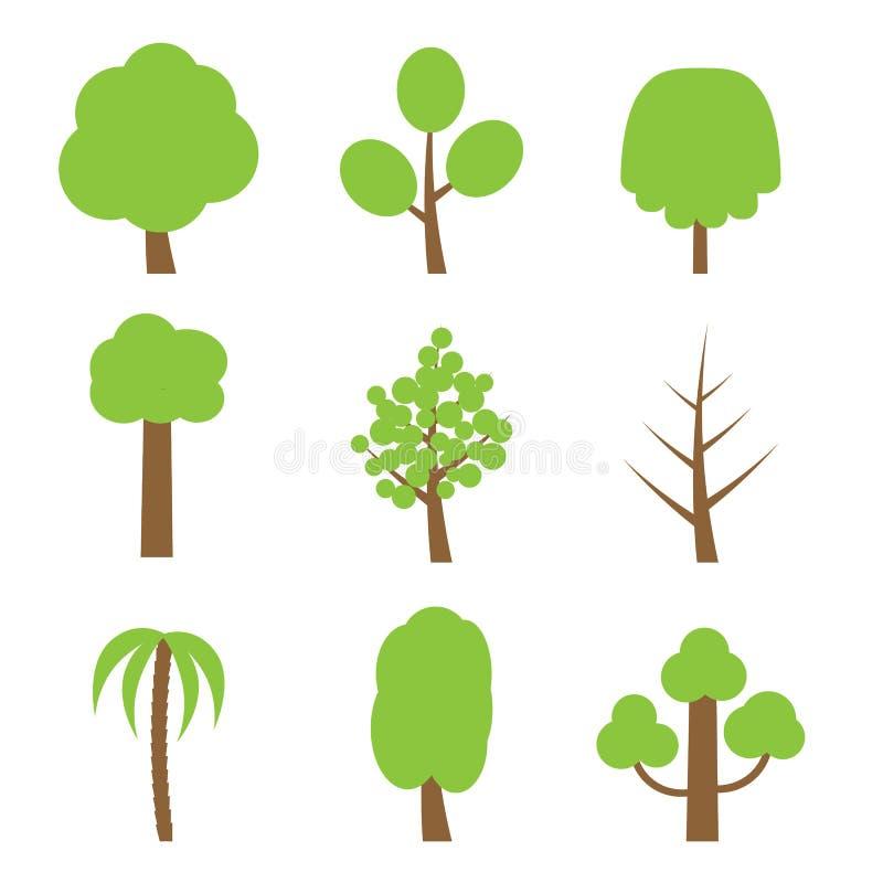 Wektorowy ustawiający prości drzewa ilustracja wektor