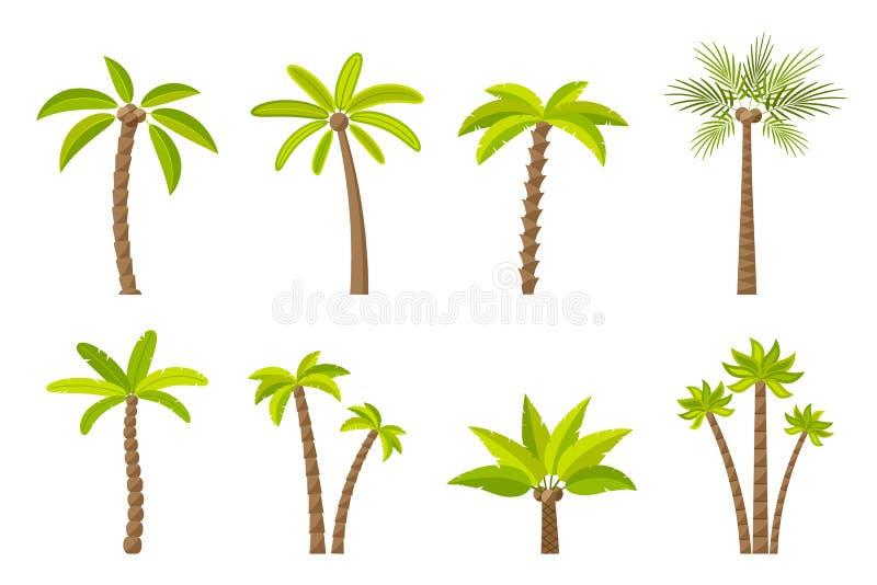 Wektorowy ustawiający prości drzewka palmowe zdjęcia royalty free