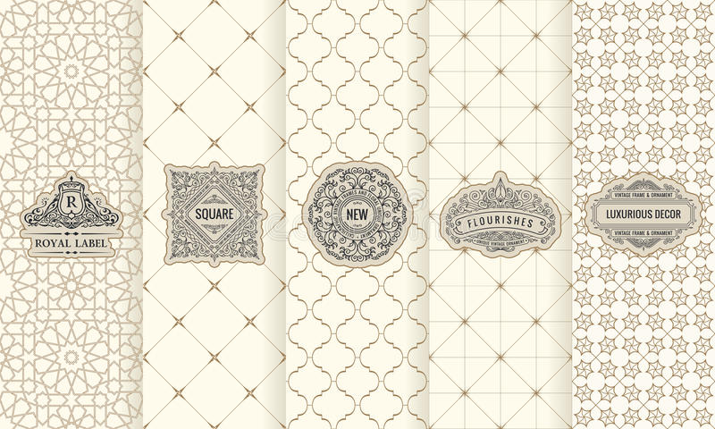 Wektorowy ustawiający projektów elementów etykietki, ikona, logo, rama, luksus pakuje dla produktu royalty ilustracja