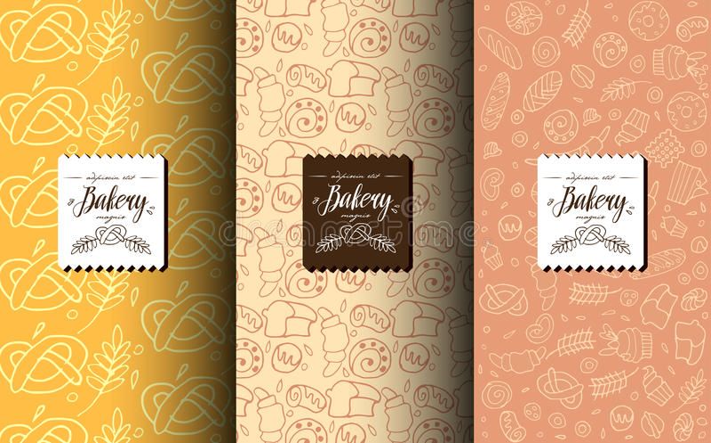 Wektorowy ustawiający projektów elementy dla piekarni z projekt etykietką i szablony ilustracji