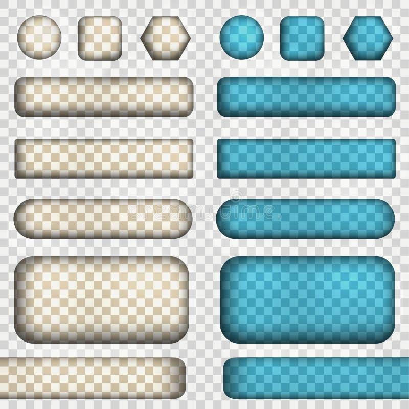 Wektorowy ustawiający przezroczystość guziki Wektorowa ilustracja zawiera gradienty i skutki ilustracja wektor