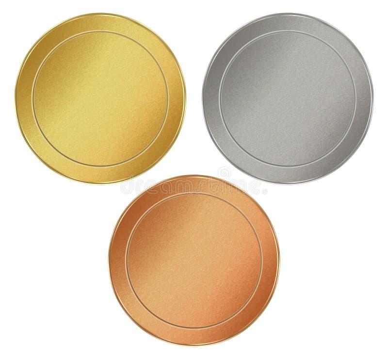 Wektorowy ustawiający puści round tekstura żetony złoto, srebro, brąz ilustracja wektor