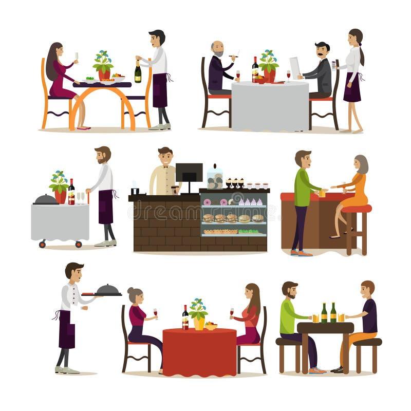 Wektorowy ustawiający pub i restauracyjni ludzie ikon, mieszkanie styl ilustracja wektor