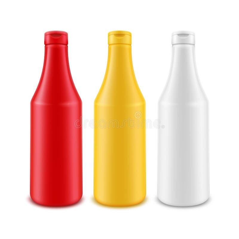 Wektorowy Ustawiający Pusta Plastikowa Biała Czerwona Żółta Majonezowa musztarda ketchupu butelka dla Oznakować bez etykietki Odi ilustracja wektor