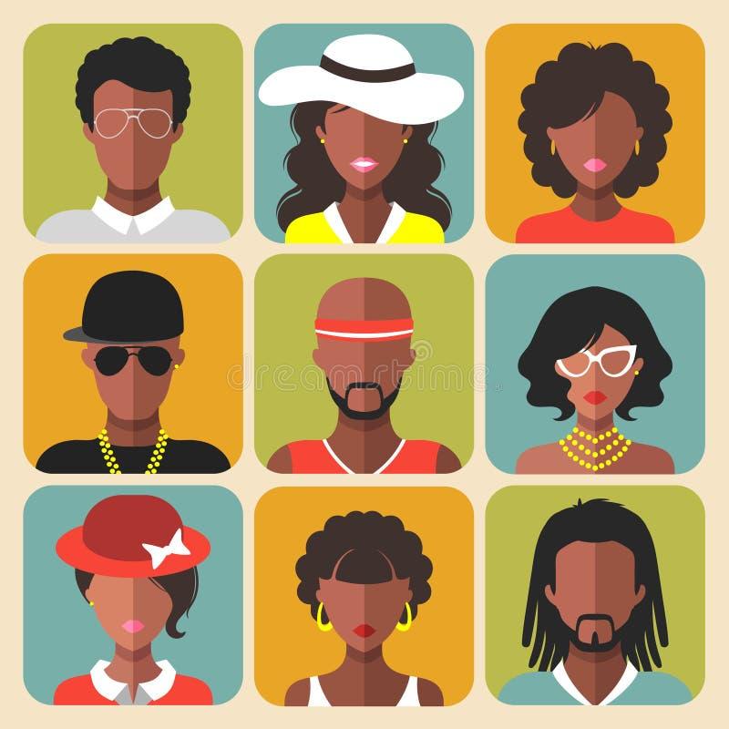 Wektorowy ustawiający różne amerykanin afrykańskiego pochodzenia kobiety i mężczyzna app ikony w modnym mieszkaniu projektujemy royalty ilustracja