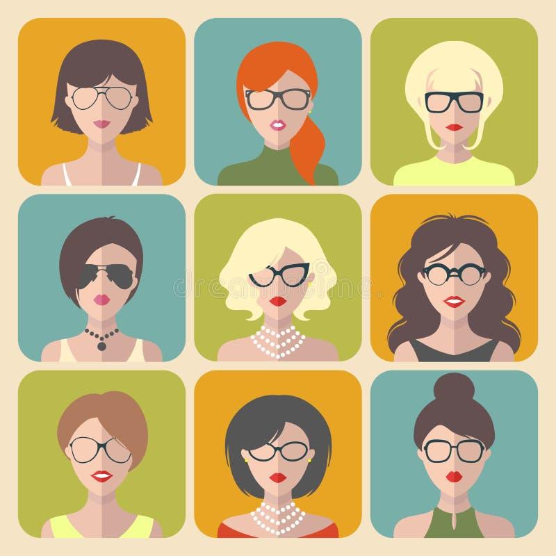 Wektorowy ustawiający różne kobiety app ikony w szkłach w mieszkanie stylu ilustracji