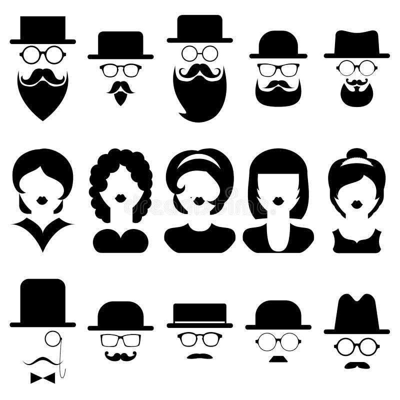 Wektorowy ustawiający różne męskie i żeńskie ikony w modnym mieszkanie stylu ilustracja wektor
