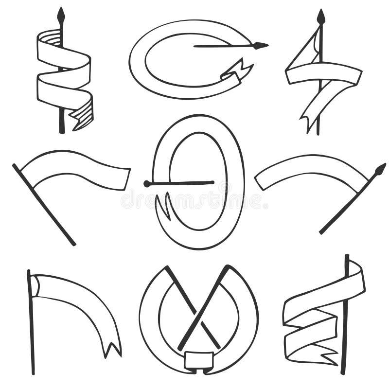 Wektorowy ustawiający różni chorągwiani kształty Rocznika pustego emblemata tasiemkowi sztandary ustawiający Dekoracja element dl royalty ilustracja